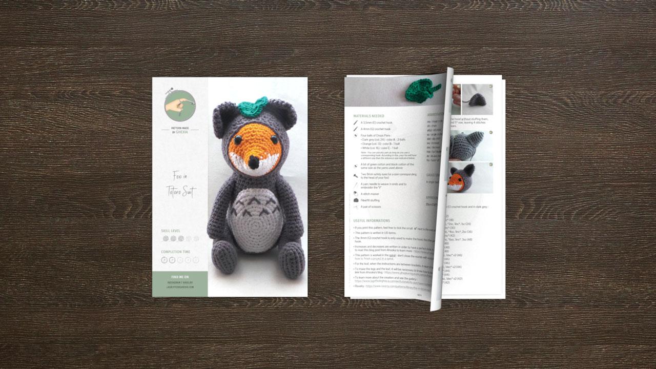 Fox in Totoro Suit - Pattern mockup