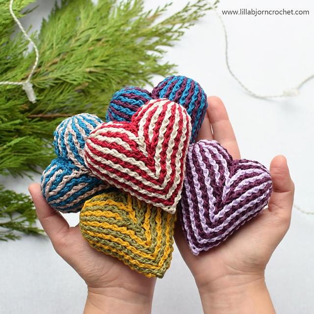 Brioche Heart - Lilla Bjorn Crochet