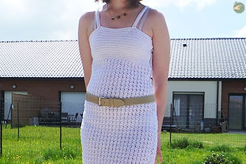 White Dress with Braces